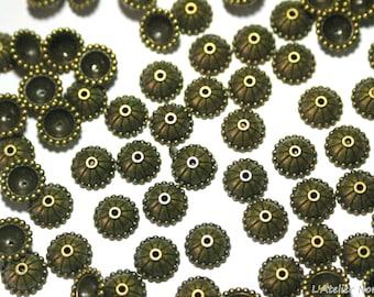 10 caps ø10mm beads Bronze color bead