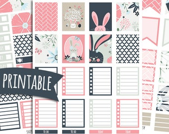 Easter PRINTABLE Planner Stickers for ECLP Vertical   Sticker Printables   Happy Planner Stickers   Easter Stickers   Bunny Stickers