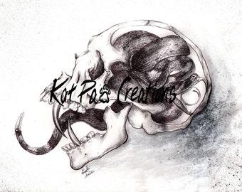 "Poisoned Mind, Fine Art Print, 8.5""x11"", Ink Drawing Wall Art Anatomy Medical Illustration, Skull Tattoo, Mental Health, Rattle Snake"