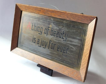 Framed Wall Hanging, Keats Motto, A Thing of Beauty, Etched Metal Wall Hanging