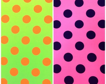 Big Bright Polka Dot Pattern on Stretch Knit Jersey Polyester Spandex Fabric - 58 to 60 Inches Wide - By the Yard or Bulk