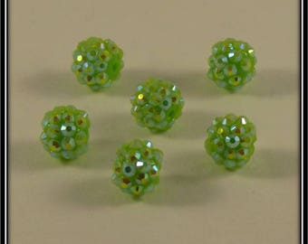 light green set of 6 beads shamballa holographique12mm