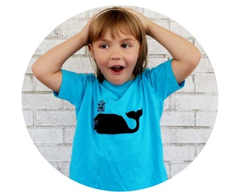 Turquoise Blue Whale Tshirt, Short Sleeved Toddler Graphic Tee, Youth Cotton Clothing, Hand Printed, Screenprinted Top, Ocean Animal, Marine