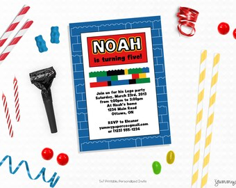 Personalized Printable Blocks Invitation - Lego Inspired Favor Tag or Printable Party for Lego Birthdays, Lego Parties, Printable Lego Party