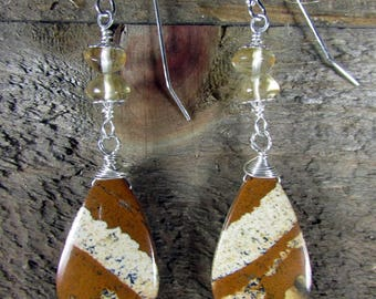 Jasper Earrings, Earthtone Earrings, Sterling Silver & Jasper Long Earrings
