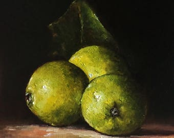 Green Apples Original Oil Painting by Nina R.Aide Fine Art Studio Gallery Fruit Fine Art Small Painting Chiaroscuro