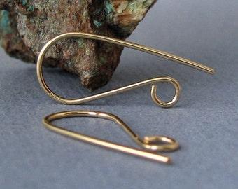 14k Gold Filled Ear Wires, Handmade Earring Findings, Rock'n Hooks