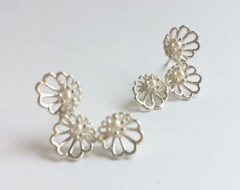 Sterling Silver Abalone Cluster Stud Earrings with Freshwater Pearls