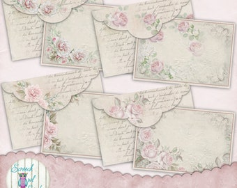 Digital Envelopes and Journal Cards, Journal Ephemera, Roses, Junk Journal, Paper Craft Supplies, Printable Stationery - 'Blush Add-on #2'