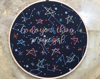 Magic Girl - hand drawn painted and embroidered wall hanging