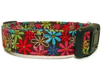 Custom Adjustable Dog Collar Cocoa Flower Garden