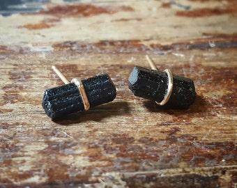 Raw Stone Black Tourmaline Earrings Black Tourmaline Stud Earrings Raw Stone Jewelry Raw Crystal Studs 14K Gold Jewelry Womens Gift for Her