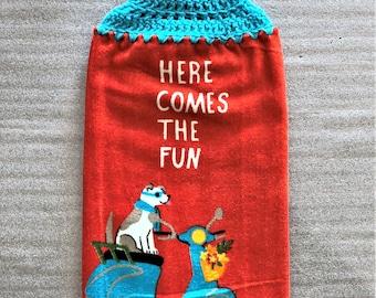 PUPPY FUN Extra Plush Double Layer CROCHET Towel, hanging towel, decorative towel, #dog, #crochet towel, dog lover gift, housewarming, red