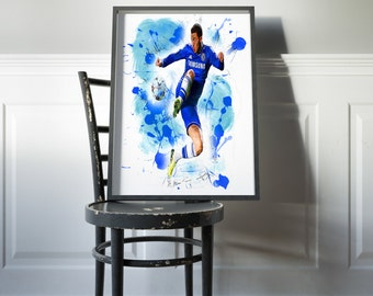 Eden Hazard Poster Chelsea Print Home Decor DORM decor House Warming Gift Eden Hazard wall art Chelsea soccer poster Chelsea Blue Hazard Art