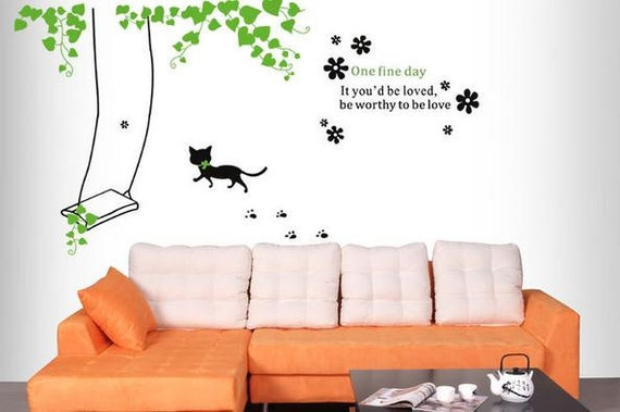 katze schaukel wand aufkleber kinder schaukel kinderzimmer. Black Bedroom Furniture Sets. Home Design Ideas
