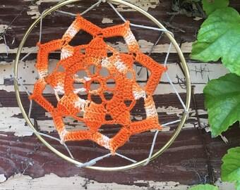"Vintage Crocheted Doily Mandala Suncatcher 6"""