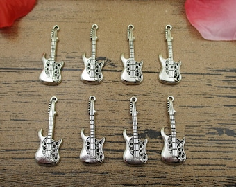 12 Guitar Charms ,Antique Silver Tone -RS358
