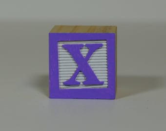 Custom Alphabet Blocks (Lilac on White Sample Wooden Block Color) - Personalized Names in Baby Blocks
