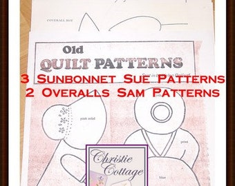 Sunbonnet Sue and Overall Sam Quilt Pattern Vintage 5 patterns