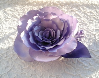 Lavender Satin Flower Brooch, Bridal Hair Clip, Wedding Accessory, Hairstyles For Bride, Mother of the Bride, Dress Brooch, Floral Accessory