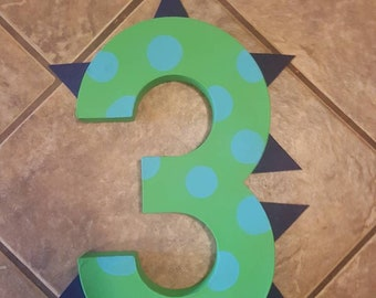 Dinosaur Painted Number-photo prop dinosaur party paper mache number kids party birthday birthday party polka dot painted number dino