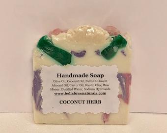 Coconut Herb Soap,Organic Soap,All Natural Soap,Facial Soap,Soap,Oatmeal Soap,Olive Oil Soap,Scented Soap, Luxury Soap,Handmade Soap