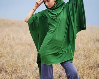 Hooded Poncho - Cowl Hood - Organic Cotton Soy Spandex Jersey - Green - Several Colors - Eco Friendly - Organic Clothing