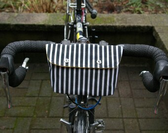 Bike Handle Bar Bag / Bicycle Bag / Clutch - Waxed Cotton with Black and White Stripes, and Recycled Leather Straps