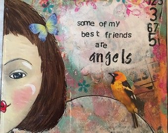 Best friend/Angel/Angels/Mixed Media/Collage/gift for woman/gift for girl/Christian gift/Christian/original art