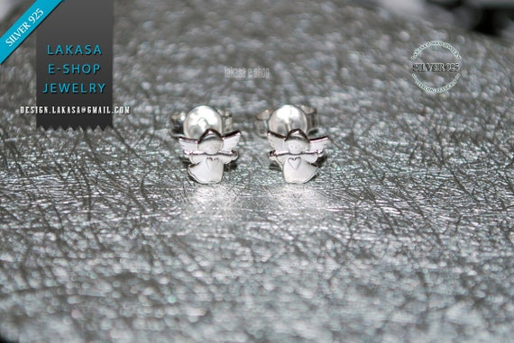 Sweet Angels with Hearts Studs Earrings Sterling Silver Jewelry Baby Girl Kids Collection Gift idea Woman Girlfriend Birthday Anniversary