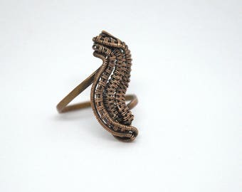 Smoke Copper Ring - Swirls Copper Ring - Wire Wrapped Copper Ring Size 7.5 - Gift for Her - Copper Jewelry