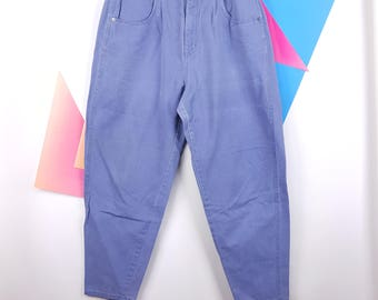 Jeans High Waisted Pleats Blue Brittania 80s Fashion