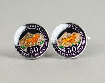 Enamel  Cufflinks-East Africa Lion Coin