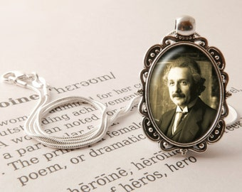 Albert Einstein Pendant Necklace, Einstein Jewelry, Gift For Genius, Theoretical Physics Pendant, Genius Necklace, Albert Einstein Jewellery