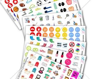 Itty Bitty Sampler Stickers! Perfect for your Erin Condren Life Planner, Filofax, Plum Paper, scrapbooking / Mini stickers! #SQ00893