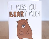 Items similar to I Miss You Bear - y Very Much. Pun. Cute ...  Items similar t...