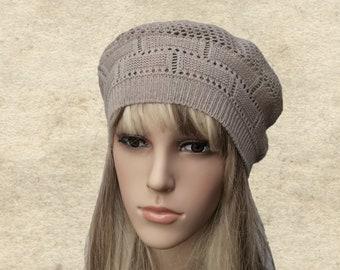 Béret tricoté coton, bonnet tricoté en été, les femmes de tricot béret, beret coton bio, respiration béret, béret pour l'été, beret coton Beige