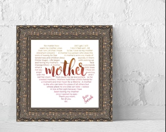 Mother Quote Print, Gift for Mom, Personalized Gift for Mother, Mother Day Gift, Mothers Day