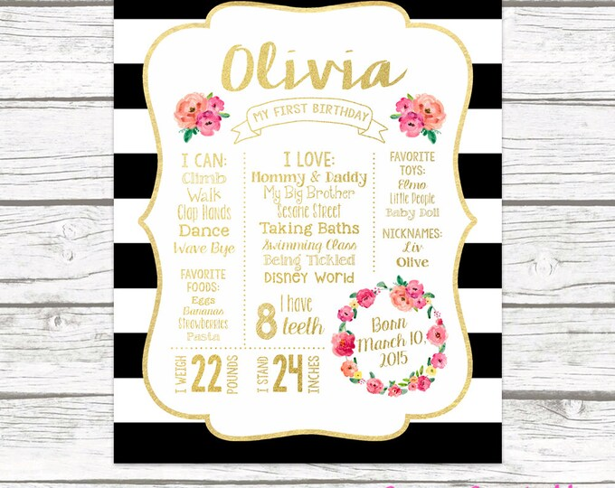 First Birthday Chalkboard Sign, Pink and Gold First Birthday Board Girl, 1st Birthday Poster, Black and White Birthday Stat Board, Printable