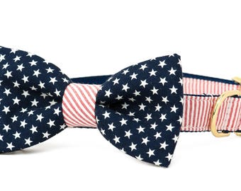 Crew LaLa Patriot Bow Tie Dog Collar