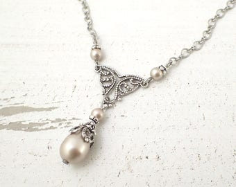 Champagne and Antique Silver Swarovski Pearl Teardrop Filigree Pendant Necklace - Handmade Vintage Style Bridesmaids Jewelry