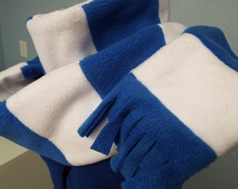 blue and white striped long fleece scarf