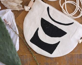 Small Crossbody Zippered  Bag / Women's Bag /  Half Moon Bag / Blockprinted Bag / Handprinted with Linoleum / Boho Print
