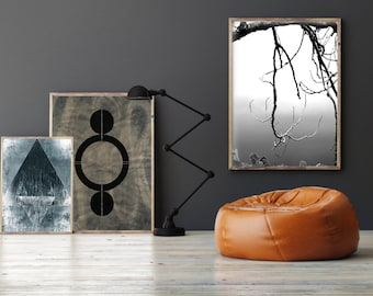 Set of 3 prints, zen art, manly décor, black and white prints, minimal modern style
