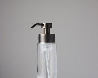 Castile Foaming Soap Dispenser | Large Glass Foaming Soap Dispenser with Bronze Metal Foam Pump