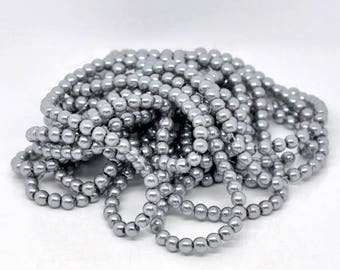 Set of 20 beads - silver - glass Pearl - effect 6 mm T38