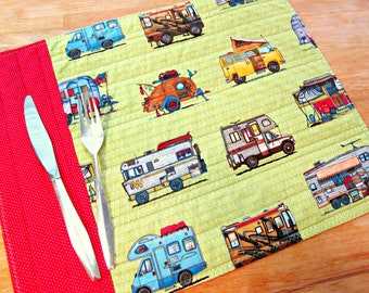 Quilted Placemats, Retro Placemats, Camper Decor, Fabric Placemats, Green Placemats, Mobile Home Decor, Vintage Camper, RV Decor