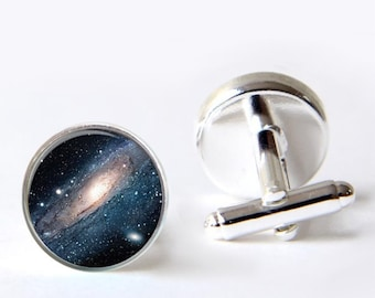 Mens Cufflinks, Novelty Cufflinks, Galaxy Cufflinks, Mens Jewelry
