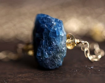 Raw Stone Necklace - Rough Blue Apatite, 14K Gold Fill Necklace, Citrine, Long Gemstone Necklace