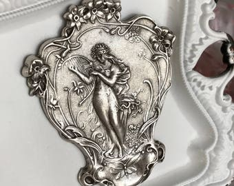 sterling silver plated art nouveau stamping woman lady goddess lyre flower floral pendant jewelry focal large